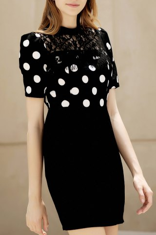 Trendy Lace Inset Dotted Packet Buttocks Dress