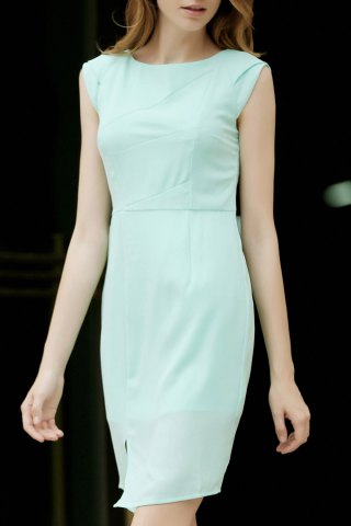 New Cap Sleeve Sheath Dress With Slit