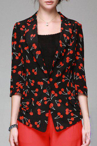 Shops Lapel Cherry Print Blazer