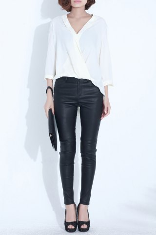 Fancy Plunging Neck Asymmetric Blouse