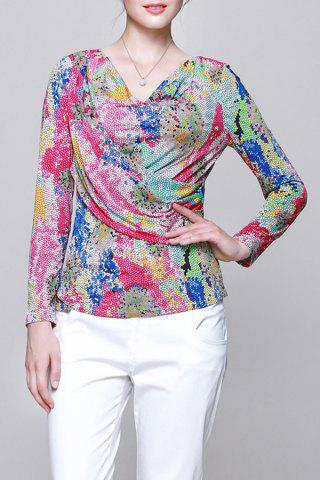 Latest Cowl Neck Colorful Long Sleeve Blouse