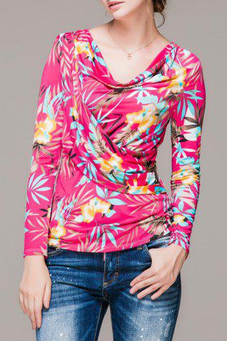 Buy Cowl Neck Floral Print Long Sleeve Blouse
