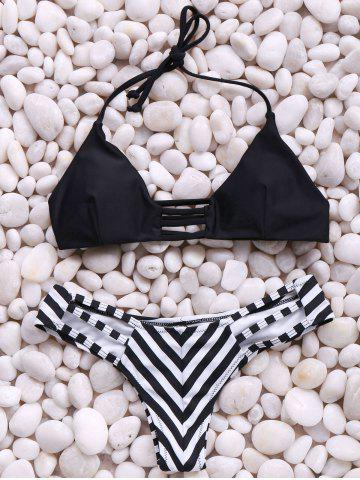 Outfits Trendy Spaghetti Straps Stripes Bikini Set For Women BLACK S