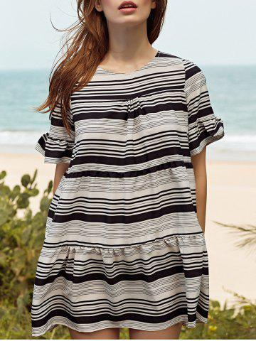 Buy Stylish Round Neck Butterfly Sleeve Loose Striped Women's Dress WHITE L