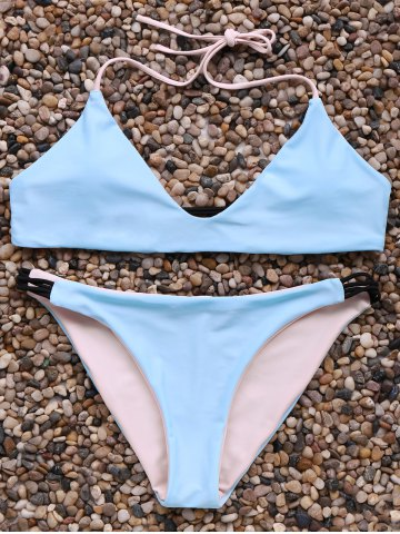 Cheap Alluring Halter Neck Contrast Women's Bikini Set ICE BLUE L