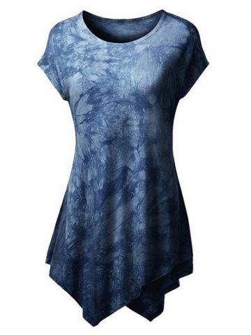 Trendy Tie Dyed Short Sleeve Asymmetrical T-Shirt For Women