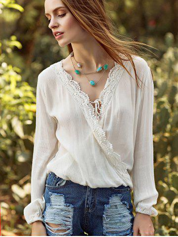 Outfits V Neck Long Sleeve Crossover Blouse