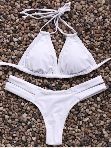 Latest Trendy Spaghetti Straps Solid Color Bandage Bikini Set For Women WHITE L