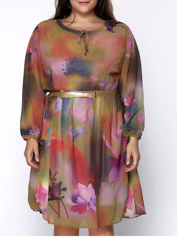 Floral Print Chiffon Plus Size Dress - Yellow - 6xl