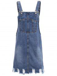 Casual Bleach Wash Frayed Pocket Design Denim Overall Dress For Women -