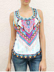 Ethnic Style Scoop Neck Sleeveless Printed Women's Tank Top