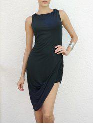 Asymmetrical Draped Club Bodycon Dress - BLACK