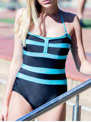 Sexy Halter Sleeveless Color Block Women's One-Piece Swimwear - BLACK