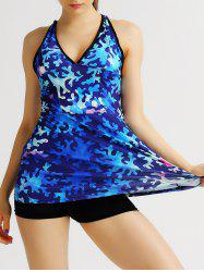 Printed Criss Cross Backless Gym Vest - BRIGHT BLUE