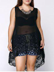 Lace Spliced Extra Long Plus Size Tops - BLACK