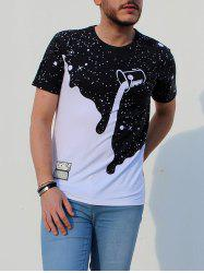 Dumping Milk Starry Sky Dot Print Appliques Men's Round Neck Short Sleeve T-Shirt