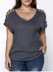 Plus Size V Neck Ripped Sleeve Tee - GRAY