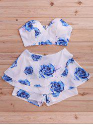 Stylish Floral Print Tube Top and Skirted Shorts Set For Women -