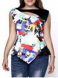 Stylish Plus Size Cut Out Printed Asymmetric Top For Women