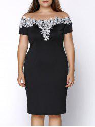 Plus Size Off Shoulder Crochet Insert Party Dress - BLACK