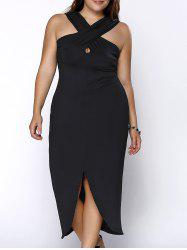 Plus Size Keyhole Neckline Slit Cross Bandage Dress -