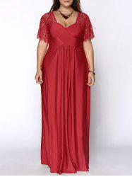 Plus Size Lace Short Sleeve Maxi Evening Party Dress - RED XL