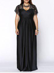 Plus Size Lace Sleeves Maxi Evening Cocktail Dress - BLACK