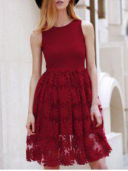 Stylish Round Neck Sleeveless Embroidered Flare Dress For Women - DARK RED S