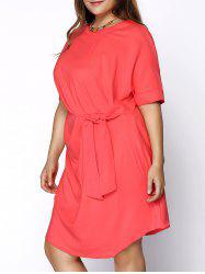 Chic Round Collar Plus Size Knotted Solid Color Women's Dress