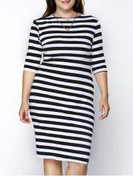 Trendy Round Collar 3/4 Sleeve Plus Size Striped Skinny Women's Dress
