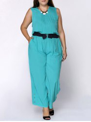 Chic Round Neck Sleeveless Plus Size Pocket Design Women's Jumpsuit