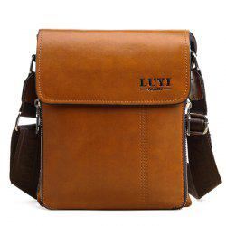 Concise Letter and Solid Color Design Messenger Bag For Men - LIGHT BROWN