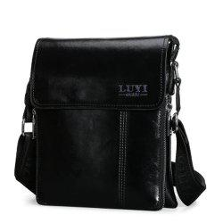 Concise Letter and Solid Color Design Messenger Bag For Men - BLACK