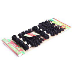 8Pcs/Lot Fashion Curly 90 Percent Human Hair Black Hair Extension For Women - BLACK