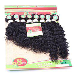 8Pcs/Lot Fluffy Curly Black Capless 90 Percent Human Hair Blended Synthetic Women's Hair Extension - BLACK