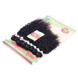 Trendy 8Pcs/Lot Fluffy Jerry Curly Black 90 Percent Human Hair Blended Synthetic Women's Hair Extension - BLACK