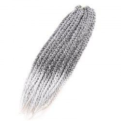 Vogue Twisted Rope Braid Silver Ombre White Long Synthetic Hair Extension For Women