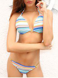 Stylish Halter Colorful Print Women's Striped Tropical Bikini Suit