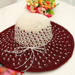 Chic Bowknot Rope Mix Color Sweet Lady Style Holiday Straw Hat For Women -