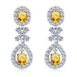 Pair of Oval Faux Gem Zircon Floral Earrings -