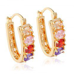 Pair of Alloy Rhinestone Hollow Out Hoop Earrings -
