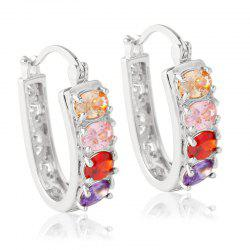 Pair of Alloy Rhinestone Hollow Out Hoop Earrings