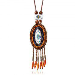 Retro Style Enamel Elliptic Bead Tassel Pendant Necklace -