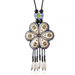 Ethnic Bohemia Flower Rhinestone Bead Tassel Alloy Pendant Necklace For Women -