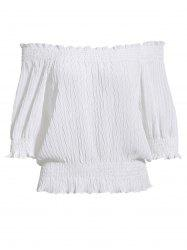 Sweet Off-The-Shoulder Ruffled Puff Sleeves Chiffon Short Blouse For Women -