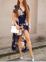 Floral Sheer Short Sleeve Wrap Plunge Maxi Dress -