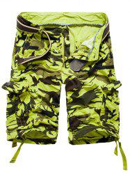 Loose Fit Multi-pockets Camo Printed Men's Cargo Shorts - APPLE GREEN 38