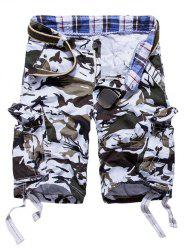 Loose Fit Multi-pockets Camo Printed Men's Cargo Shorts - WHITE