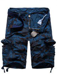 Loose Fit Multi-pockets Camo Printed Men's Cargo Shorts - BLUE 34