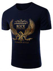 Fashion Round Neck Golden Wing Print Short Sleeves T-Shirt For Men